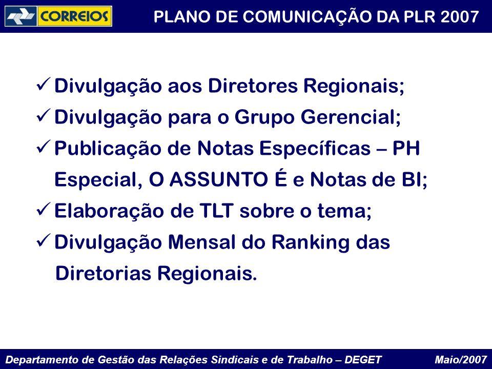 Departamento de Gestão das Relações Sindicais e de Trabalho – DEGET Maio/2007 PLANO DE COMUNICAÇÃO DA PLR 2007 Divulgação aos Diretores Regionais; Div