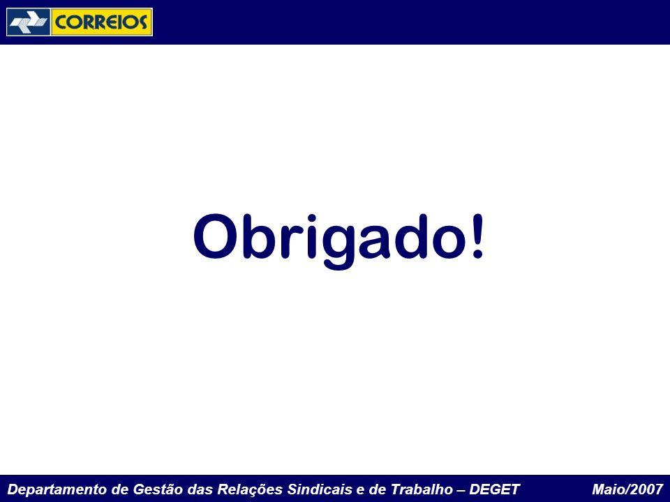 Departamento de Gestão das Relações Sindicais e de Trabalho – DEGET Maio/2007 Obrigado!