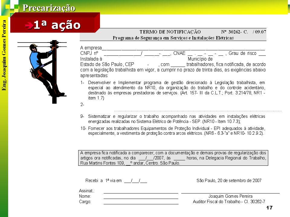 Precarização Eng. Joaquim Gomes Pereira 17 1ª ação 1ª ação