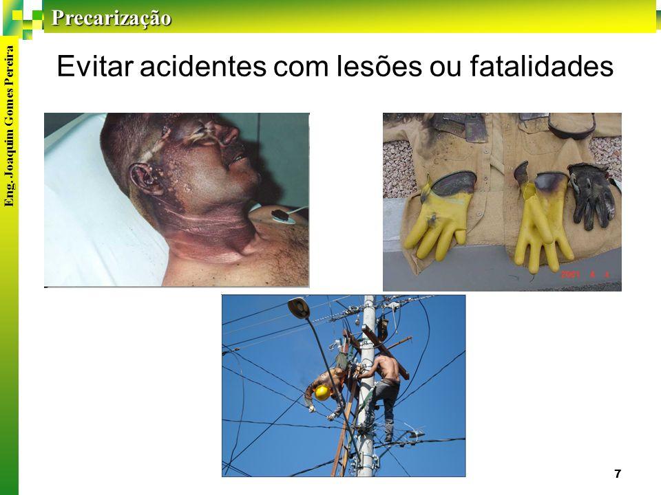 Precarização Eng. Joaquim Gomes Pereira 7 Evitar acidentes com lesões ou fatalidades
