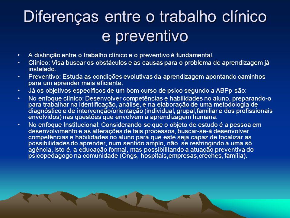 Diferenças entre o trabalho clínico e preventivo A distinção entre o trabalho clínico e o preventivo é fundamental. Clínico: Visa buscar os obstáculos
