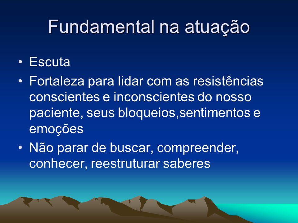 Fundamental na atuação Escuta Fortaleza para lidar com as resistências conscientes e inconscientes do nosso paciente, seus bloqueios,sentimentos e emo