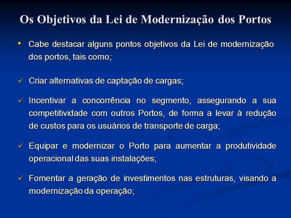 Cabe destacar alguns pontos objetivos da Lei de modernização dos portos, tais como; Criar alternativas de captação de cargas; Criar alternativas de ca