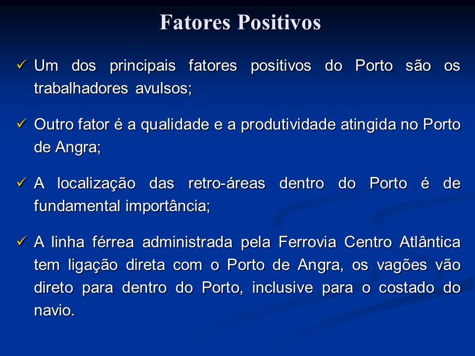 Fatores Positivos Fatores Positivos Um dos principais fatores positivos do Porto são os trabalhadores avulsos; Um dos principais fatores positivos do