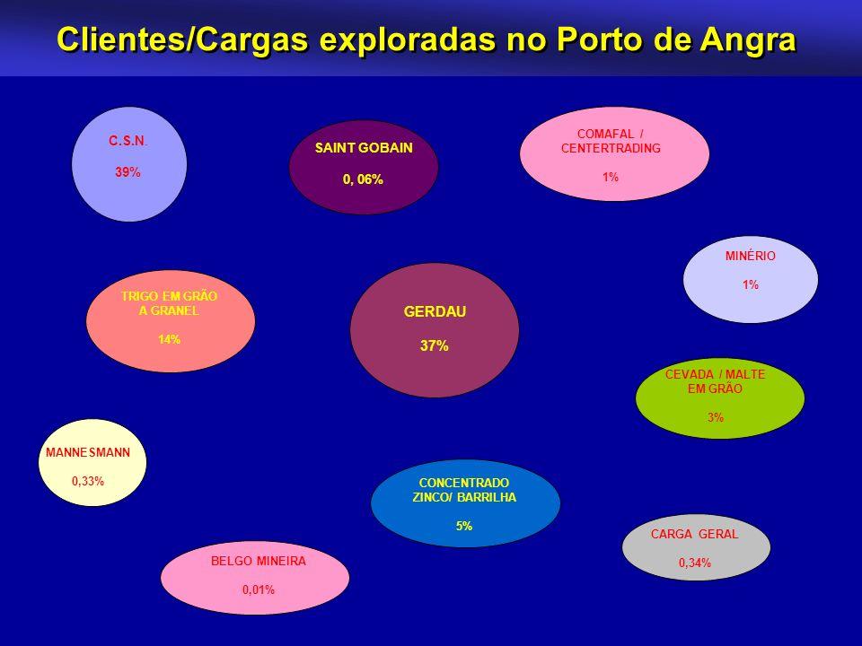 Clientes/Cargas exploradas no Porto de Angra MANNESMANN 0,33% SAINT GOBAIN 0, 06% TRIGO EM GRÃO A GRANEL 14% CONCENTRADO ZINCO/ BARRILHA 5% MINÉRIO 1%