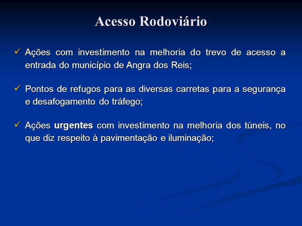 Acesso Rodoviário Ações com investimento na melhoria do trevo de acesso a entrada do município de Angra dos Reis; Pontos de refugos para as diversas c