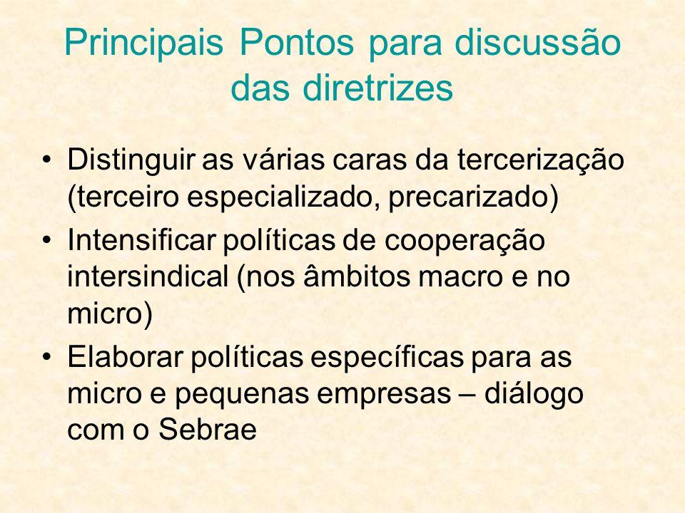Principais Pontos para discussão das diretrizes Distinguir as várias caras da tercerização (terceiro especializado, precarizado) Intensificar política