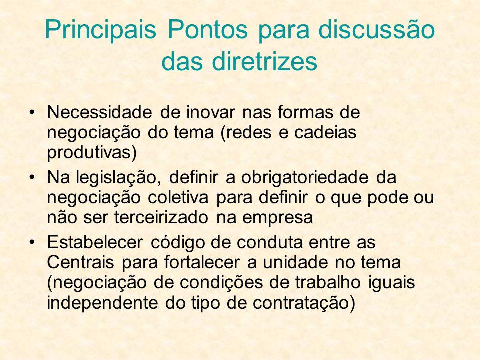 Principais Pontos para discussão das diretrizes Necessidade de inovar nas formas de negociação do tema (redes e cadeias produtivas) Na legislação, def