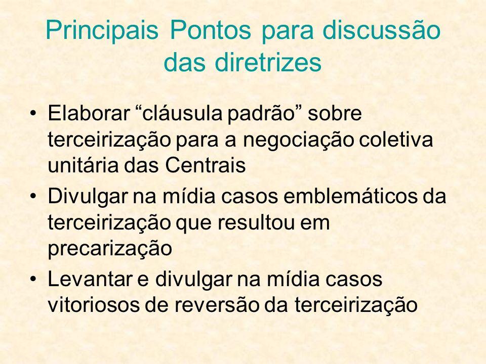 Principais Pontos para discussão das diretrizes Elaborar cláusula padrão sobre terceirização para a negociação coletiva unitária das Centrais Divulgar