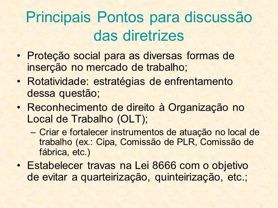 Proteção social para as diversas formas de inserção no mercado de trabalho; Rotatividade: estratégias de enfrentamento dessa questão; Reconhecimento d