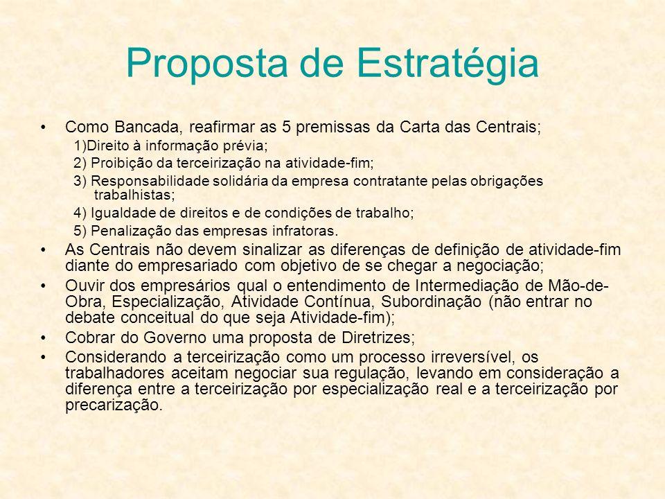 Proposta de Estratégia Como Bancada, reafirmar as 5 premissas da Carta das Centrais; 1)Direito à informação prévia; 2) Proibição da terceirização na a