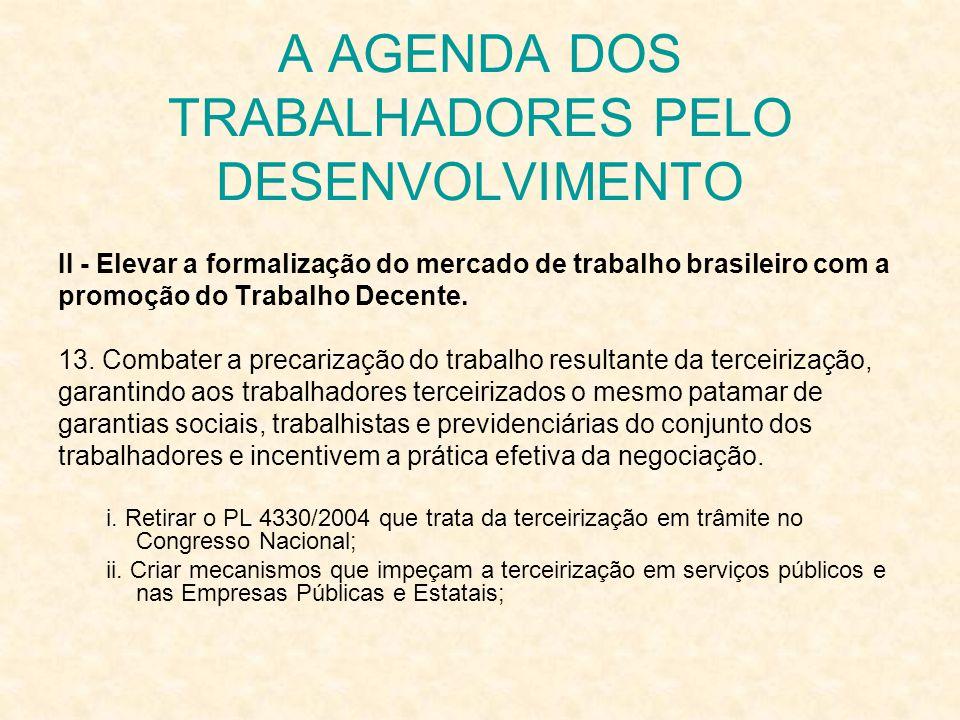 A AGENDA DOS TRABALHADORES PELO DESENVOLVIMENTO II - Elevar a formalização do mercado de trabalho brasileiro com a promoção do Trabalho Decente. 13. C