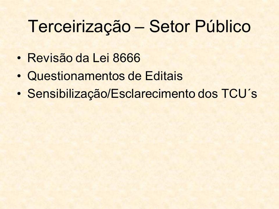 Terceirização – Setor Público Revisão da Lei 8666 Questionamentos de Editais Sensibilização/Esclarecimento dos TCU´s