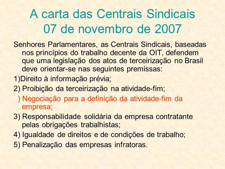 A carta das Centrais Sindicais 07 de novembro de 2007 Senhores Parlamentares, as Centrais Sindicais, baseadas nos princípios do trabalho decente da OI