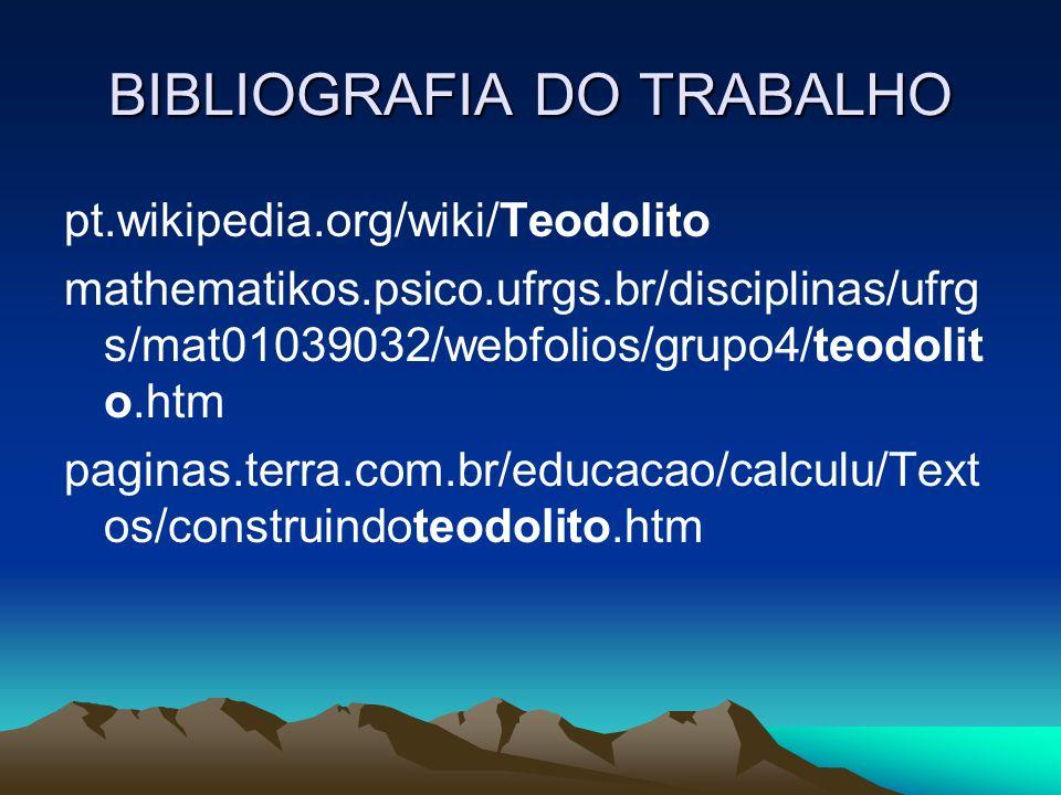 BIBLIOGRAFIA DO TRABALHO pt.wikipedia.org/wiki/Teodolito mathematikos.psico.ufrgs.br/disciplinas/ufrg s/mat01039032/webfolios/grupo4/teodolit o.htm pa
