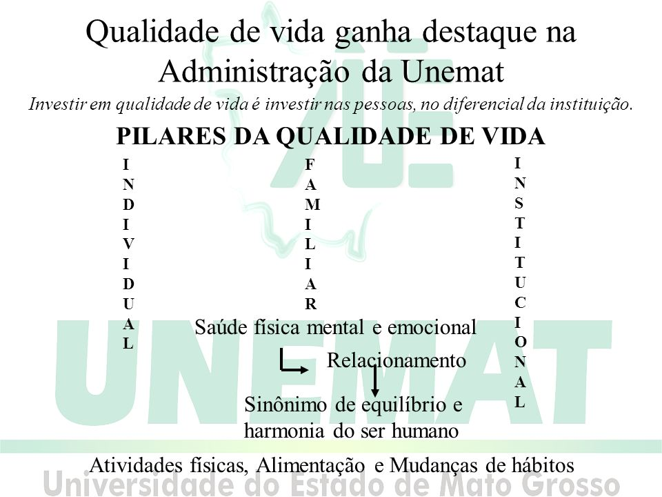 Qualidade de vida ganha destaque na Administração da Unemat Investir em qualidade de vida é investir nas pessoas, no diferencial da instituição.