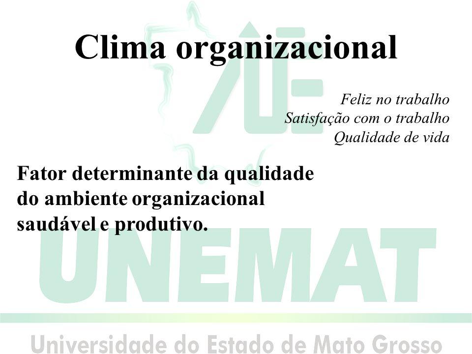 Clima organizacional Fator determinante da qualidade do ambiente organizacional saudável e produtivo.