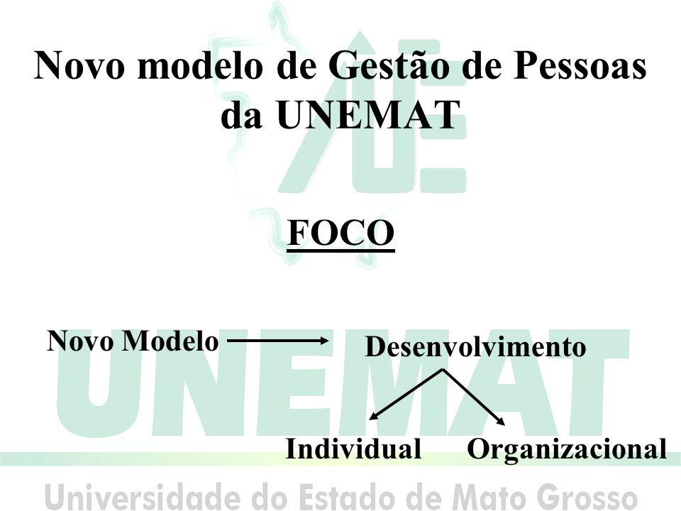 Novo modelo de Gestão de Pessoas da UNEMAT FOCO Novo Modelo Desenvolvimento IndividualOrganizacional