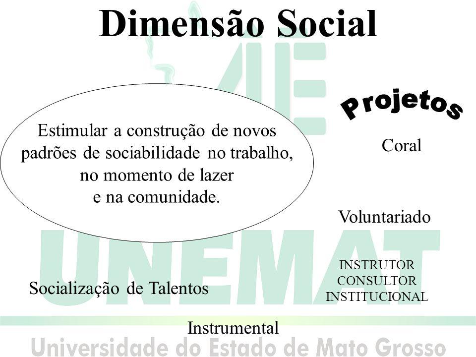 Dimensão Social Estimular a construção de novos padrões de sociabilidade no trabalho, no momento de lazer e na comunidade.