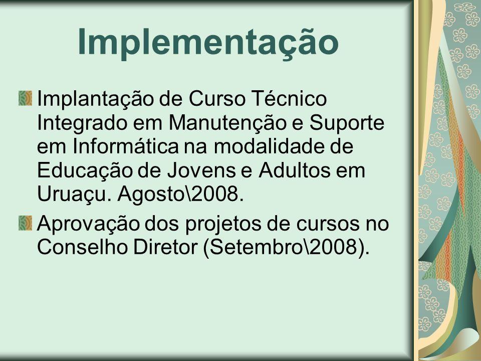 Implementação Implantação de Curso Técnico Integrado em Manutenção e Suporte em Informática na modalidade de Educação de Jovens e Adultos em Uruaçu. A