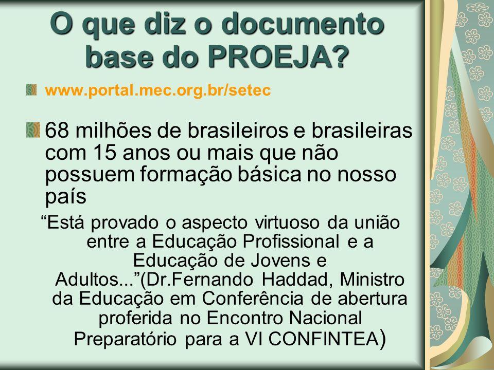 O que diz o documento base do PROEJA? www.portal.mec.org.br/setec 68 milhões de brasileiros e brasileiras com 15 anos ou mais que não possuem formação