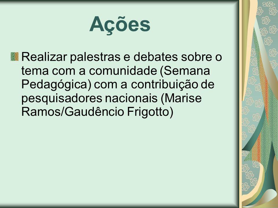 Ações Realizar palestras e debates sobre o tema com a comunidade (Semana Pedagógica) com a contribuição de pesquisadores nacionais (Marise Ramos/Gaudê