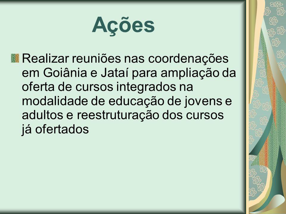 Ações Realizar reuniões nas coordenações em Goiânia e Jataí para ampliação da oferta de cursos integrados na modalidade de educação de jovens e adulto