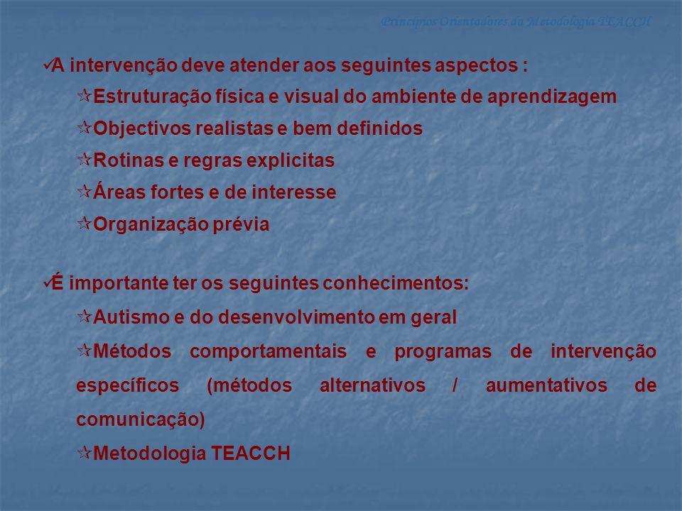 Princípios Orientadores da Metodologia TEACCH Vantagens para os professores e outros técnicos: Estabelecer objectivos Planificar actividades Avaliar competências adquiridas Estruturar e objectivar a intervenção educativa