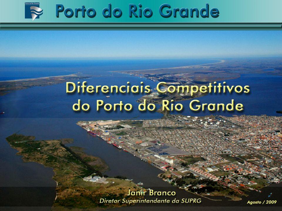 RIO GRANDE São Francisco do Sul Itajaí Imbituba Nueva Palmira Montevideo Buenos Aires Localização do Porto do Rio Grande no Conesul