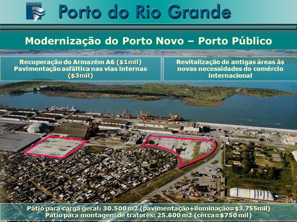 Revitalização de antigas áreas às novas necessidades do comércio internacional Modernização do Porto Novo – Porto Público Pátio para carga geral: 30.5