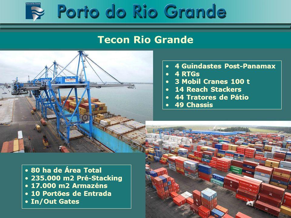 Tecon Rio Grande 4 Guindastes Post-Panamax 4 RTGs 3 Mobil Cranes 100 t 14 Reach Stackers 44 Tratores de Pátio 49 Chassis 80 ha de Área Total 235.000 m2 Pré-Stacking 17.000 m2 Armazéns 10 Portões de Entrada In/Out Gates
