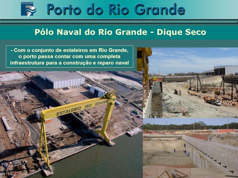 Pólo Naval do Rio Grande - Dique Seco - Com o conjunto de estaleiros em Rio Grande, o porto passa contar com uma completa infraestrutura para a construção e reparo naval