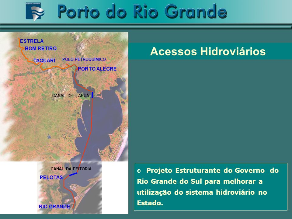 Acessos Hidroviários PORTO ALEGRE RIO GRANDE PELOTAS PÓLO PETROQUÍMICO TAQUARÍ ESTRELA BOM RETIRO CANAL DE ITAPUÃ CANAL DA FEITORIA Projeto Estruturan