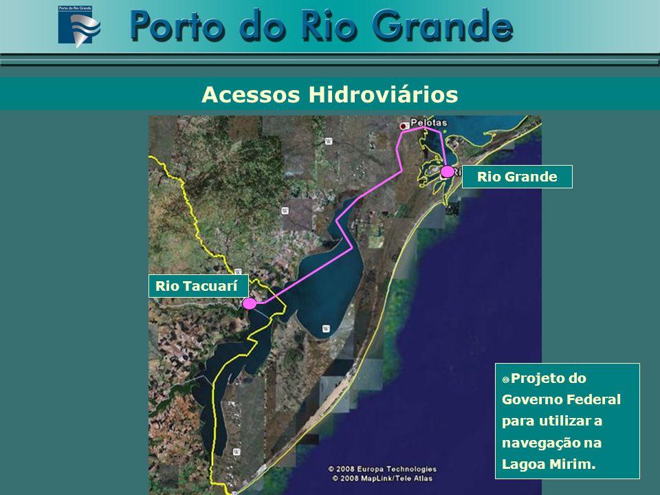 Rio Grande Rio Tacuarí Projeto do Governo Federal para utilizar a navegação na Lagoa Mirim. Acessos Hidroviários