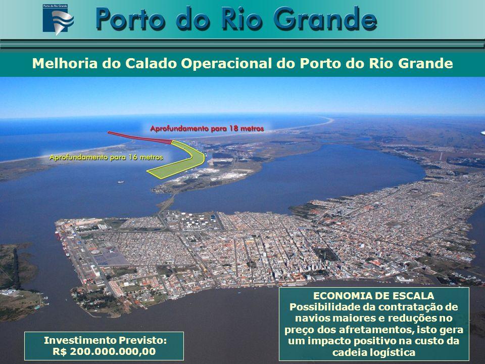 Melhoria do Calado Operacional do Porto do Rio Grande Investimento Previsto: R$ 200.000.000,00 ECONOMIA DE ESCALA Possibilidade da contratação de navios maiores e reduções no preço dos afretamentos, isto gera um impacto positivo na custo da cadeia logística
