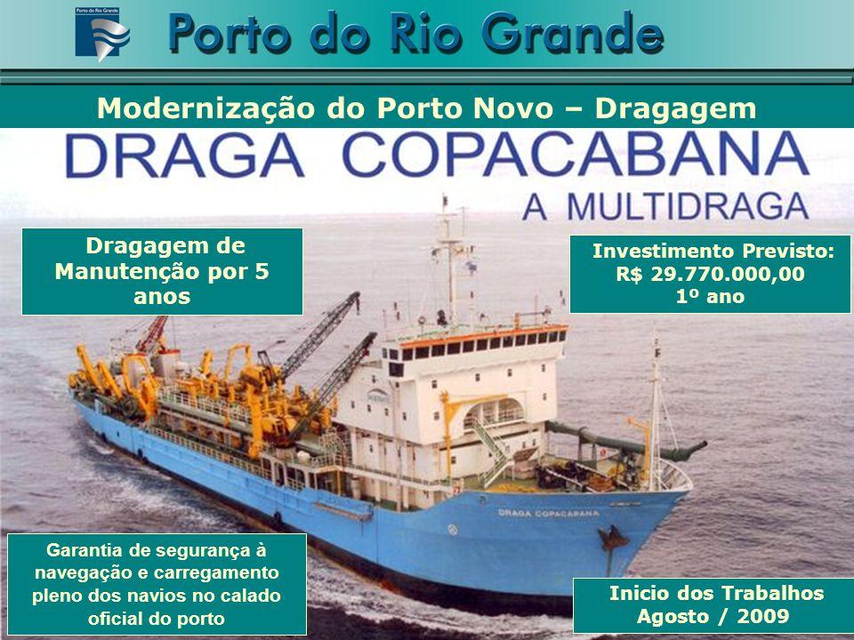 Garantia de segurança à navegação e carregamento pleno dos navios no calado oficial do porto Investimento Previsto: R$ 29.770.000,00 1º ano Dragagem d