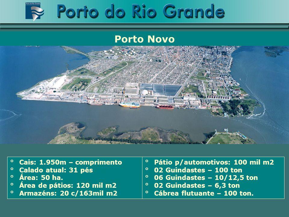 °Cais: 1.950m – comprimento °Calado atual: 31 pés °Área: 50 ha. °Área de pátios: 120 mil m2 °Armazéns: 20 c/163mil m2 Porto Novo °Pátio p/automotivos: