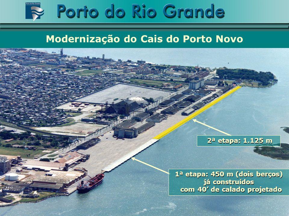 Modernização do Cais do Porto Novo 1ª etapa: 450 m (dois berços) já construídos com 40 de calado projetado com 40 de calado projetado 2ª etapa: 1.125 m 2ª etapa: 1.125 m