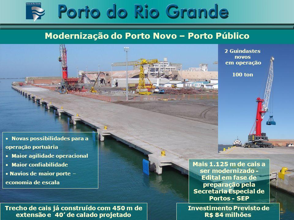 Revitalização de antigas áreas às novas necessidades do comércio internacional Modernização do Porto Novo – Porto Público Pátio para carga geral: 30.500 m2 (pavimentação+iluminação=$3.755mil) Pátio para montagem de tratores: 25.600 m2 (cerca=$750 mil) ($1mil) Recuperação do Armazém A6 ($1mil) ($3mil) Pavimentação asfáltica nas vias internas ($3mil)