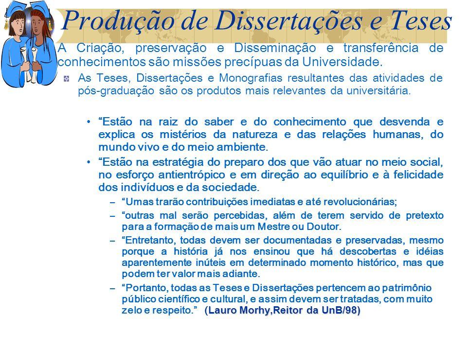 Produção de Dissertações e Teses A Criação, preservação e Disseminação e transferência de conhecimentos são missões precípuas da Universidade.