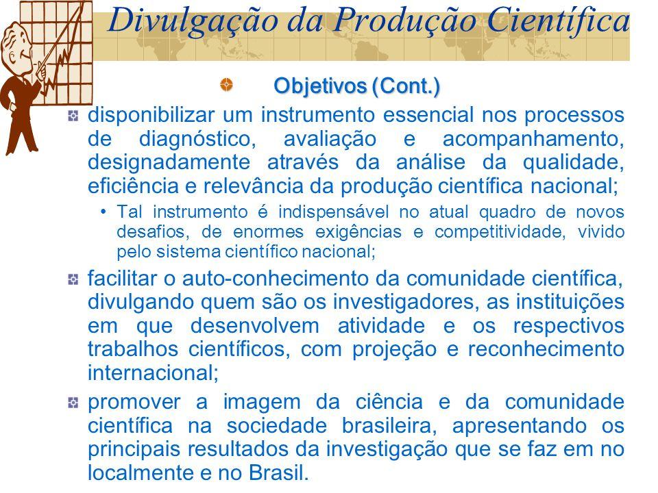 Divisão da Apresentação Divulgação da Produção Científica Projeto de Pesquisa, TCC, Monografia, Dissertação, Tese, Relatório de Pesquisa, Currículo e