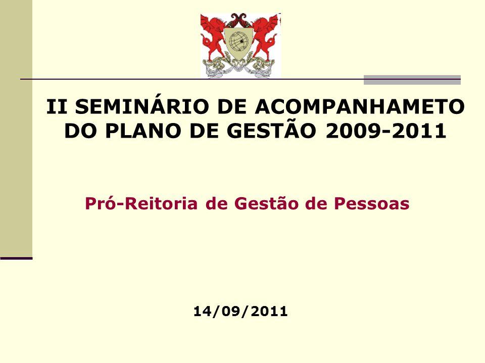 II SEMINÁRIO DE ACOMPANHAMETO DO PLANO DE GESTÃO 2009-2011 14/09/2011 Pró-Reitoria de Gestão de Pessoas