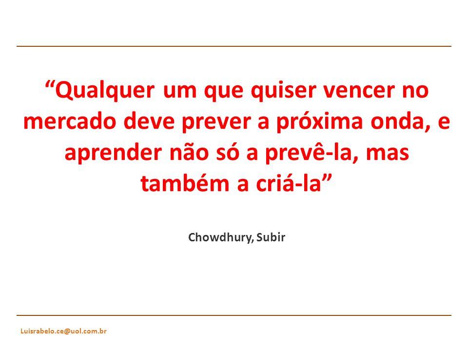 Qualquer um que quiser vencer no mercado deve prever a próxima onda, e aprender não só a prevê-la, mas também a criá-la Chowdhury, Subir
