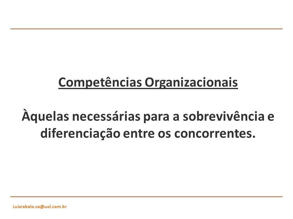 Luisrabelo.ce@uol.com.br Competências Organizacionais Àquelas necessárias para a sobrevivência e diferenciação entre os concorrentes.