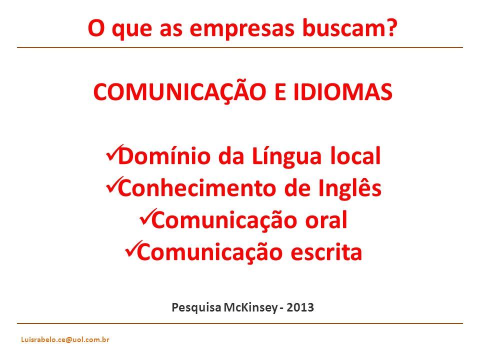 O que as empresas buscam? COMUNICAÇÃO E IDIOMAS Domínio da Língua local Conhecimento de Inglês Comunicação oral Comunicação escrita Pesquisa McKinsey