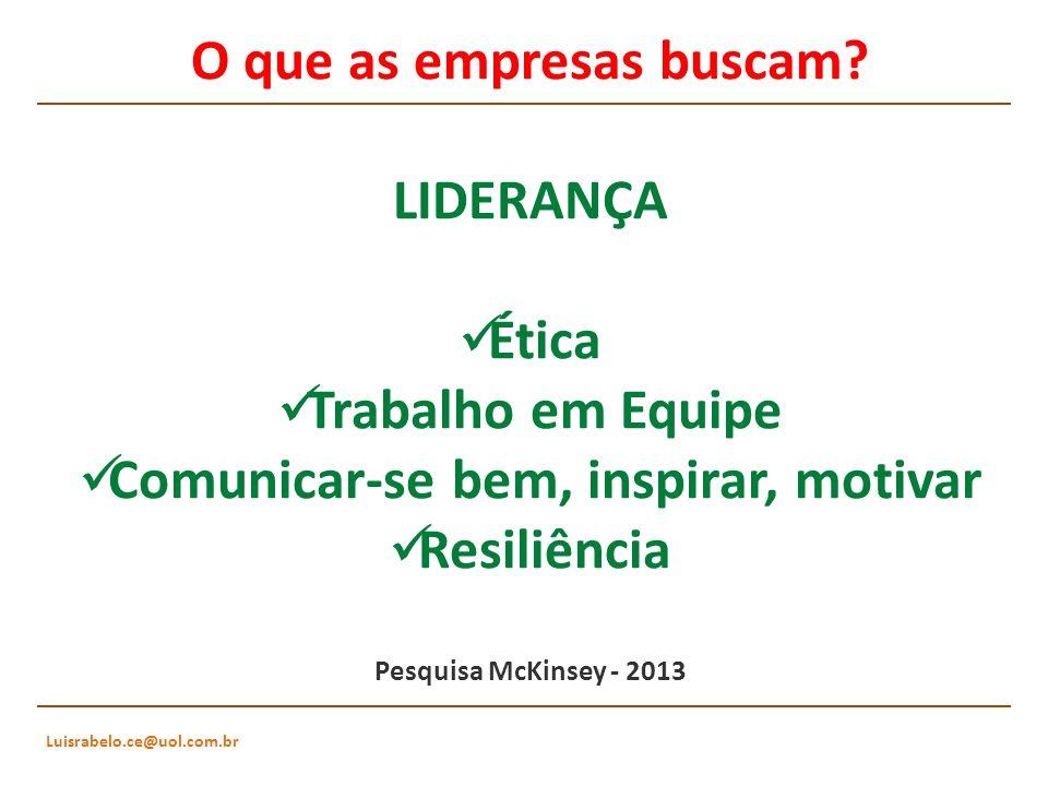 Luisrabelo.ce@uol.com.br O que as empresas buscam? LIDERANÇA Ética Trabalho em Equipe Comunicar-se bem, inspirar, motivar Resiliência Pesquisa McKinse