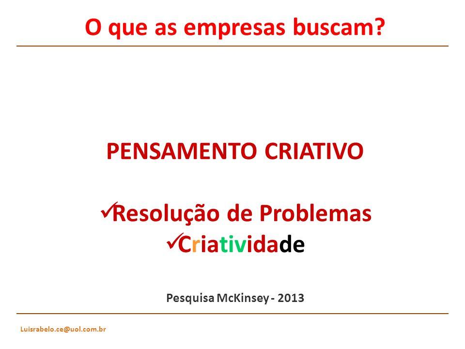Luisrabelo.ce@uol.com.br O que as empresas buscam? PENSAMENTO CRIATIVO Resolução de Problemas Criatividade Pesquisa McKinsey - 2013