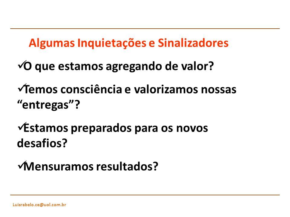 Luisrabelo.ce@uol.com.br Algumas Inquietações e Sinalizadores O que estamos agregando de valor? Temos consciência e valorizamos nossas entregas? Estam