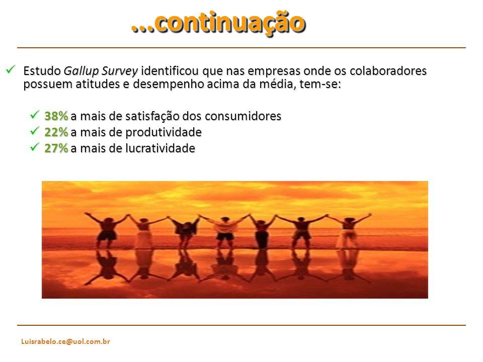 Luisrabelo.ce@uol.com.br...continuação...continuação Estudo Gallup Survey identificou que nas empresas onde os colaboradores possuem atitudes e desemp