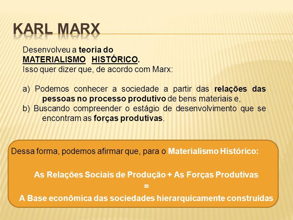 Desenvolveu a teoria do MATERIALISMO HISTÓRICO. Isso quer dizer que, de acordo com Marx: a) Podemos conhecer a sociedade a partir das relações das pes